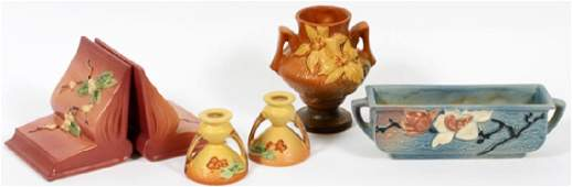 ROSEVILLE POTTERY BOOKENDS PLANTER CANDLEHOLDERS