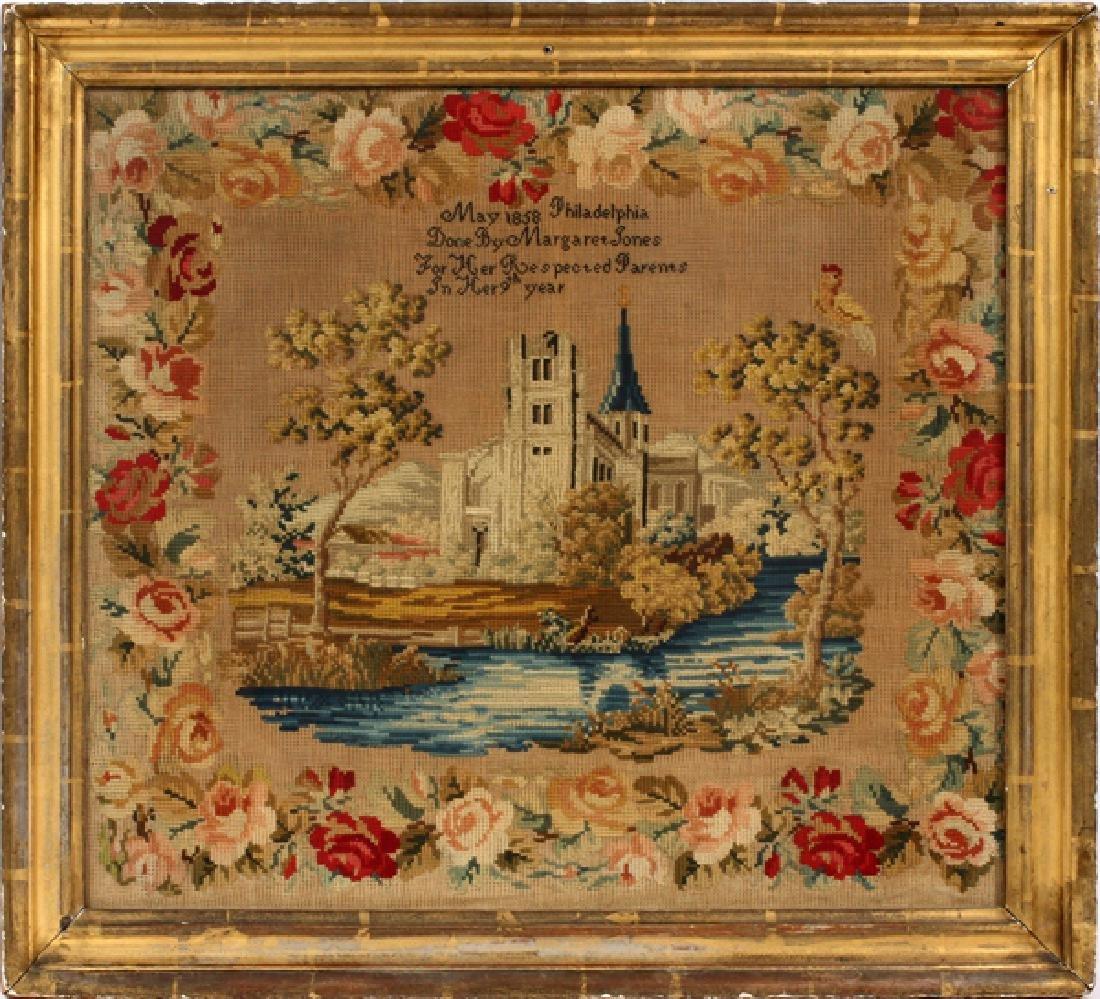 MARGARET JONES AMERICAN NEEDLEWORK SAMPLER 1858