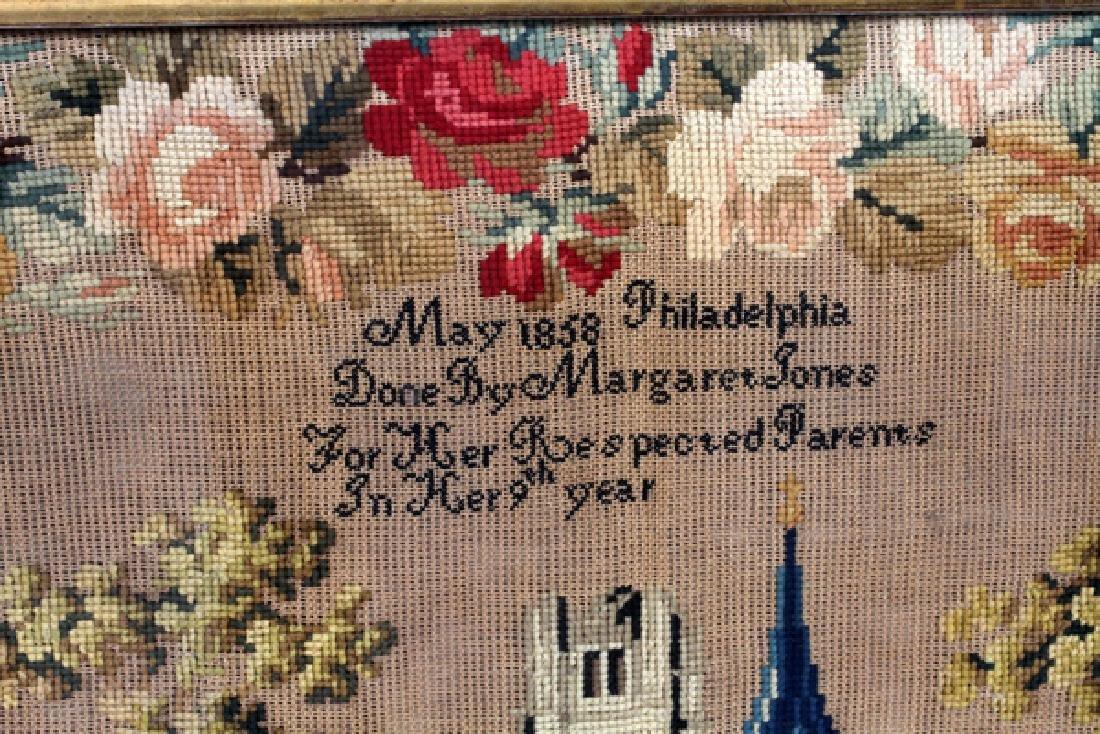 MARGARET JONES AMERICAN NEEDLEWORK SAMPLER 1858 - 2