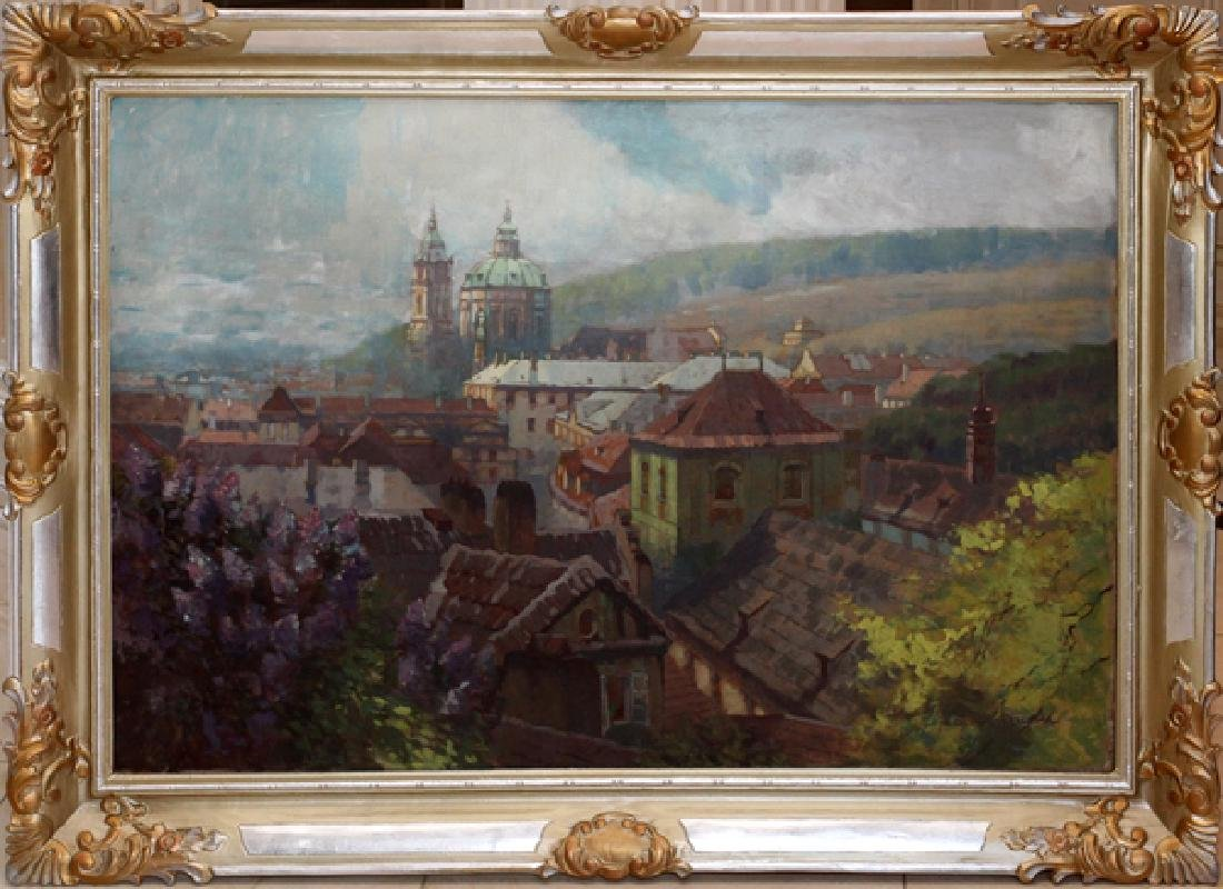 JAROSLAV PUKL OIL ON CANVAS CITY OF PRAGUE