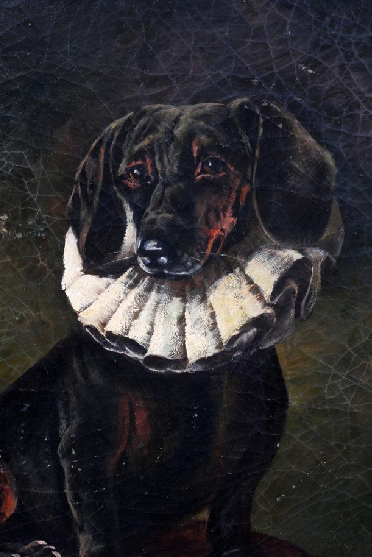 OIL PORTRAIT OF A DOG ON WOOD PANEL - 2