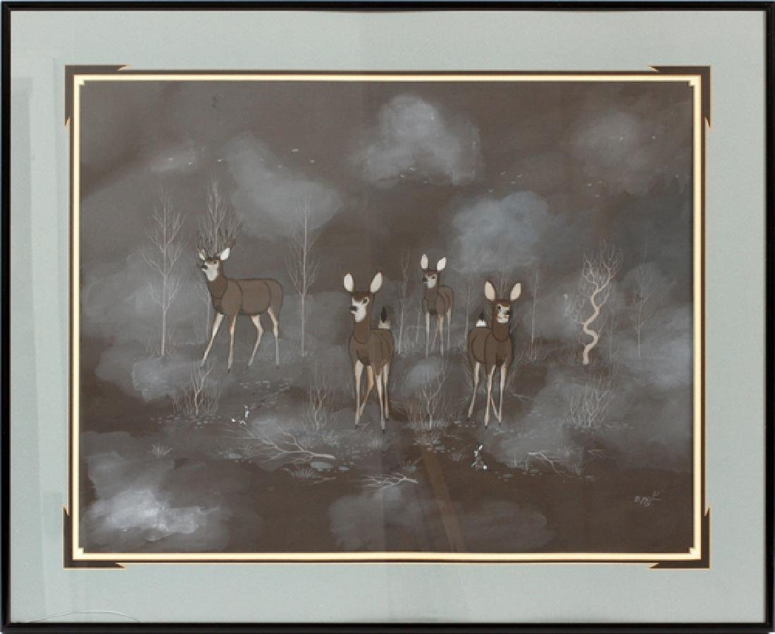 BEATIEN YAZZ PUEBLO WATERCOLOR DEER AT NIGHT