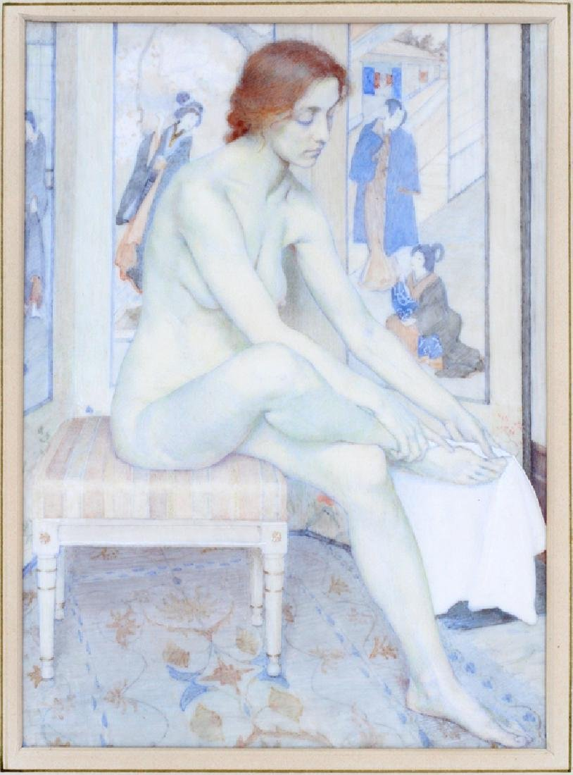 ATTRIBUTED TO LUCIA FAIRCHILD FULLER WATERCOLOR