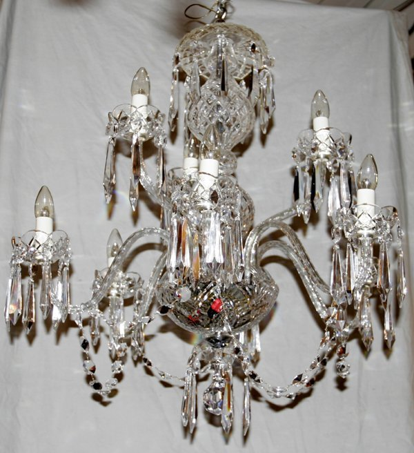 110006: WATERFORD CUT CRYSTAL CHANDELIER, SIGNED