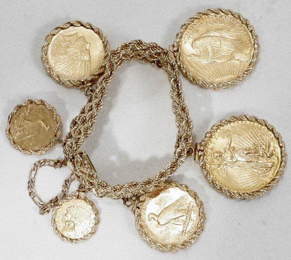 110019: 14K BRACELET W/ AMERICAN GOLD COINS