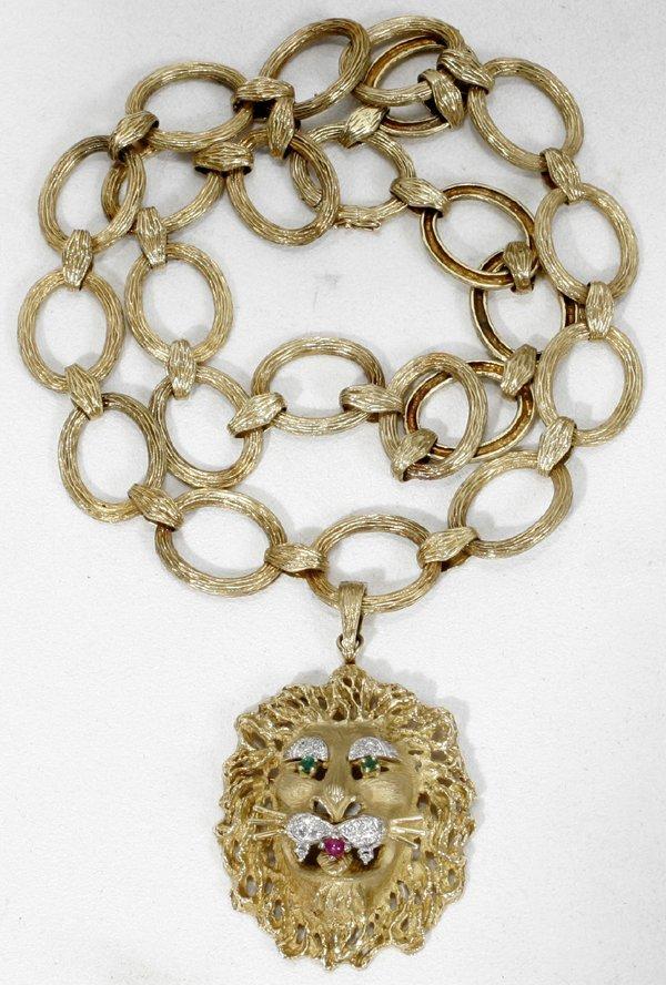 110022: 18K GOLD EMERALD RUBY DIAMOND NECKLACE