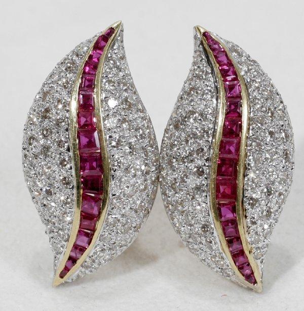 110023: 18K YELLOW GOLD, DIAMOND & RUBY EARRINGS