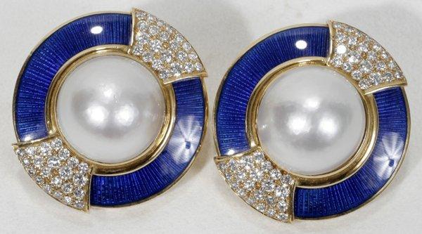 110024: LEO DE VROOMEN MOBE PEARL & DIAMOND EAR CLIPS