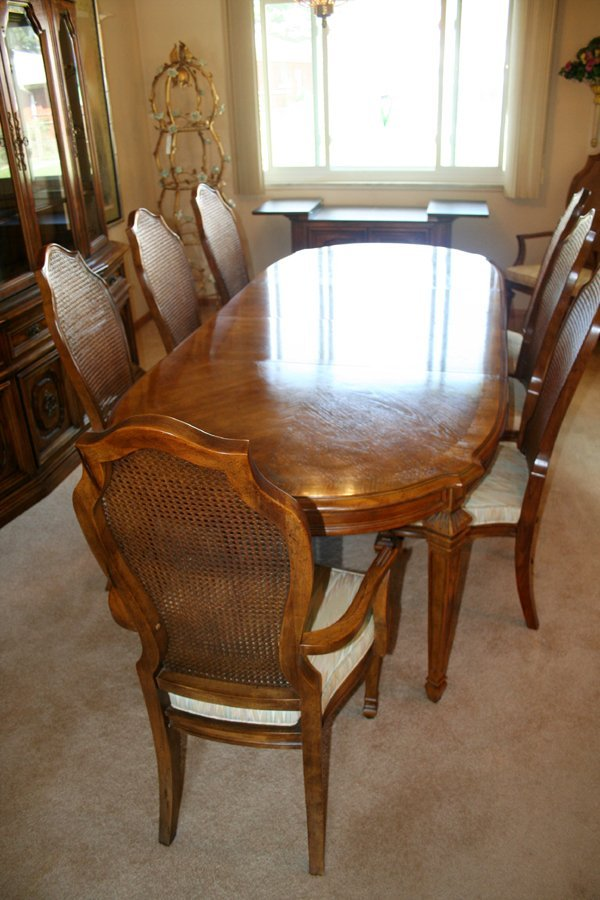 110067 bernhardt dining set table chairs cabinet rh liveauctioneers com bernhardt dining room set used bernhardt leather dining room chairs