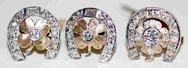 110120: 14K GOLD & DIAMOND TIE TACK & CUFF LINKS