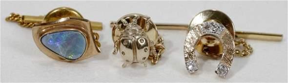 110555 9K  14K GOLD OPAL  DIAMOND TIE TACS