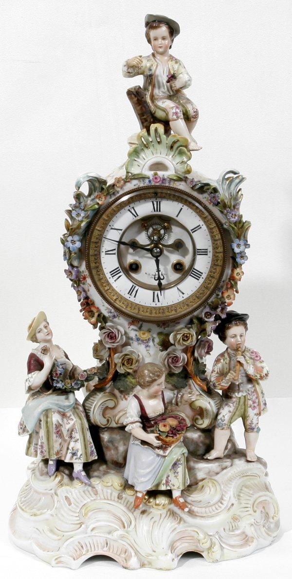 111008: DRESDEN PORCELAIN FIGURAL MANTEL CLOCK