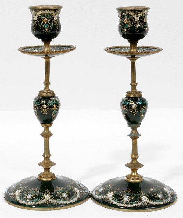 "111018: FRENCH ENAMELED CANDLESTICKS, C.1890, H8"""