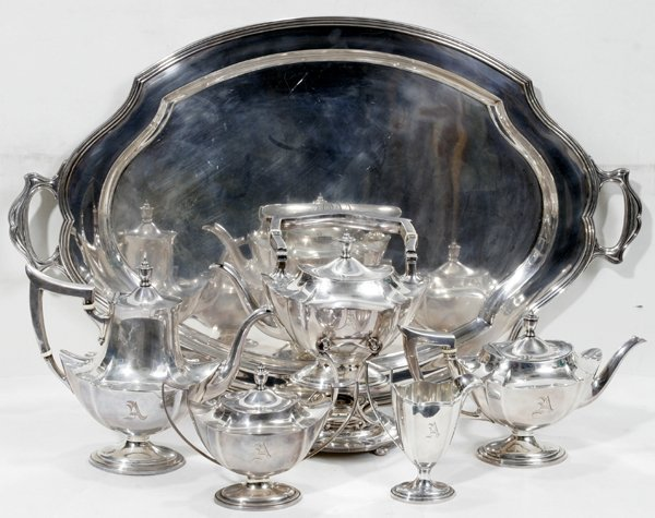 111021: GORHAM 'PLYMOUTH' STERLING TEA & COFFEE SET