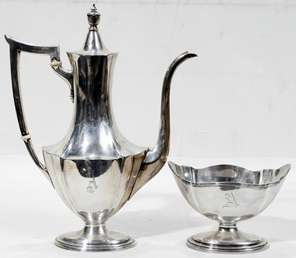 111022: GORHAM STERLING SILVER COFFEE POT & SUGAR BOWL
