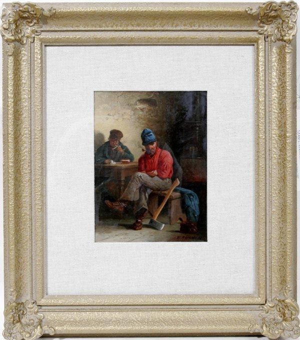 112004: WILLIAM RAPHAEL OIL PAINTING, WOODSMAN