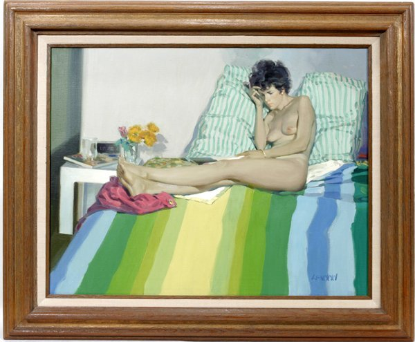 112024: JOHN LENCICKI OIL ON CANVAS, YOUNG FEMALE NUDE