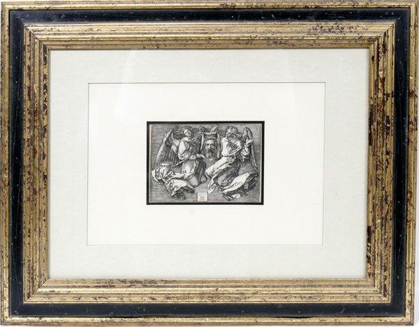 112114: ALBRECHT DURER ENGRAVING, ANGELS HOLD SUDARIUM