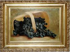 112127 C ROBERTS OIL ON CANVAS BASKET WGRAPES