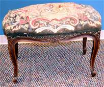 112385: FRENCH WALNUT TAPESTRY UPHOLSTERED BENCH