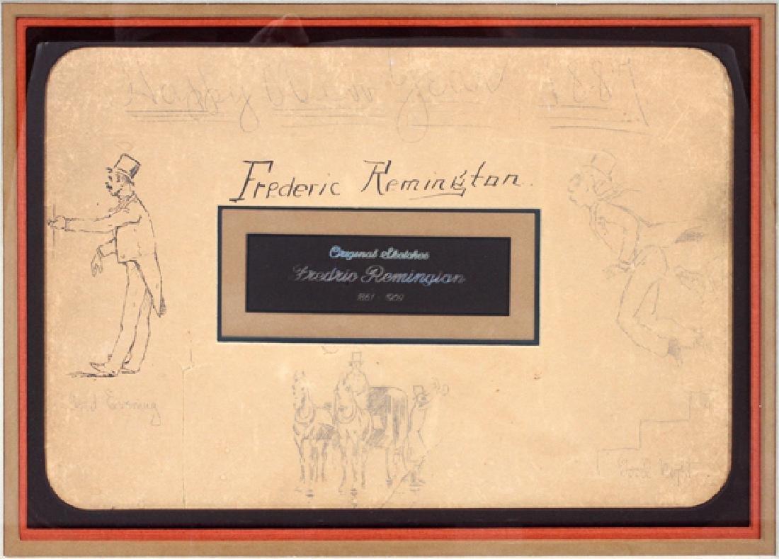 FREDERIC REMINGTON DRAWINGS & SIGNATURE 1887 - 2