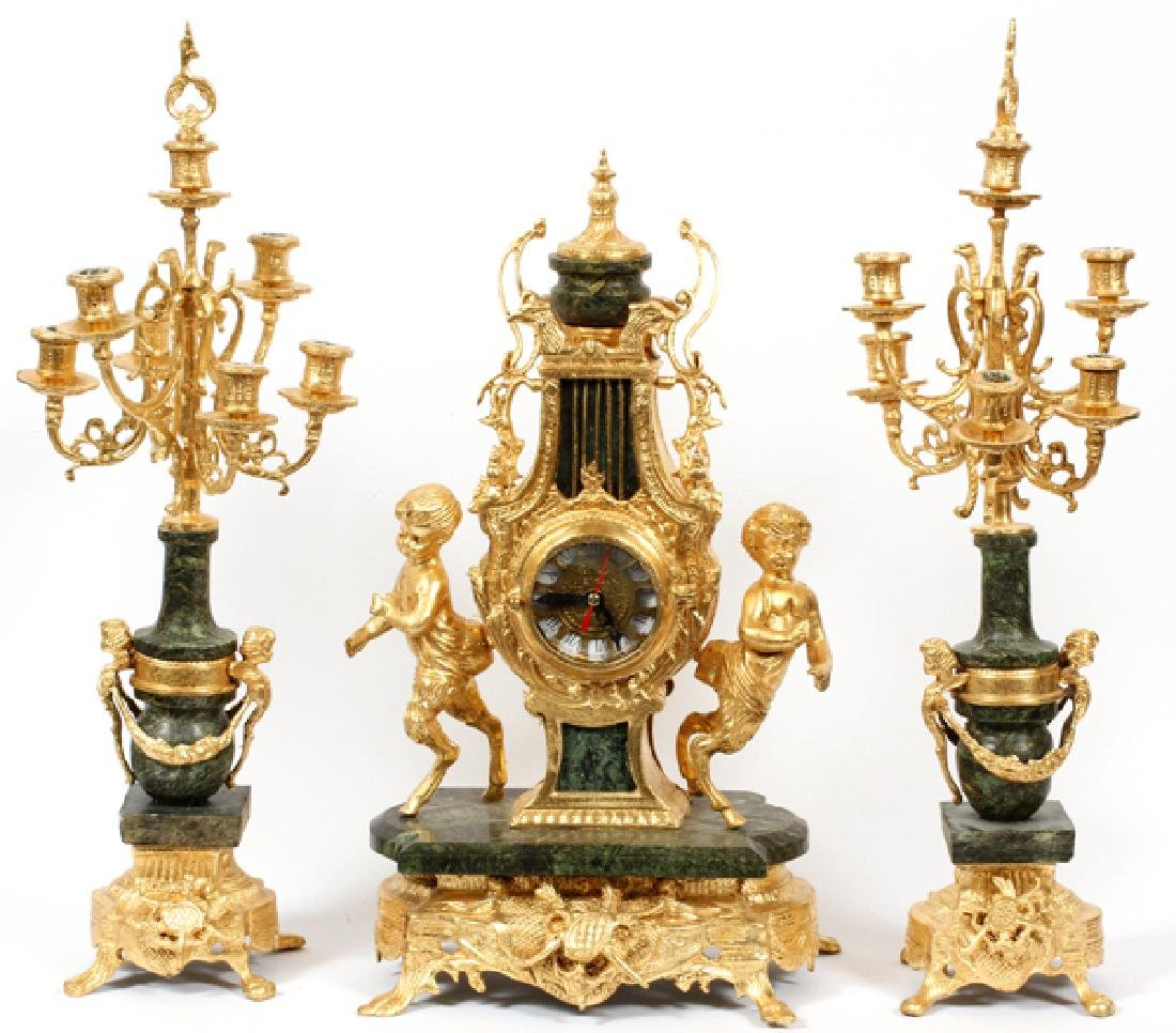 FRENCH STYLE MARBLE & GILT METAL CLOCK SET 21ST C.