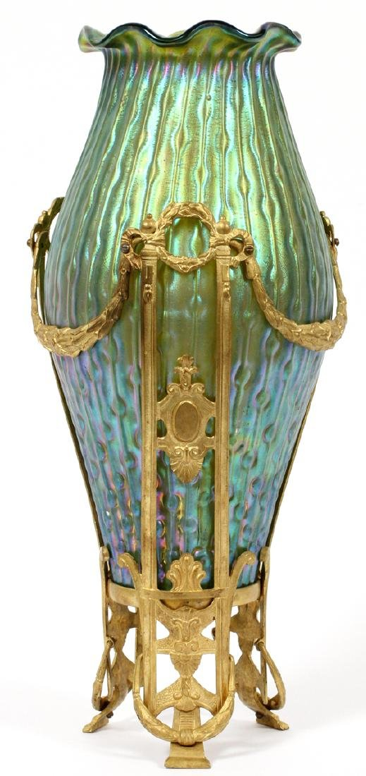 LOETZ GILT MOUNTED GREEN IRIDESCENT GLASS VASE