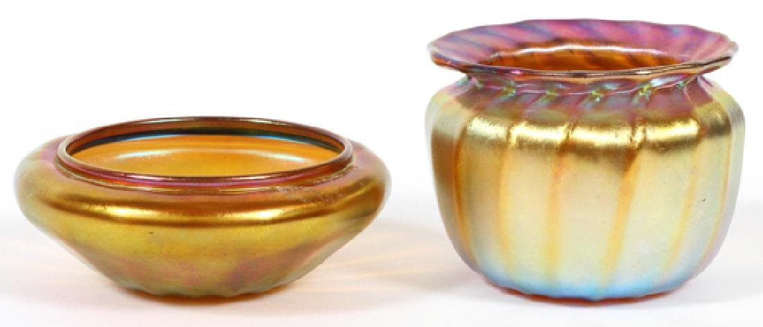 QUEZAL IRIDESCENT GLASS VASE AND SALT TWO