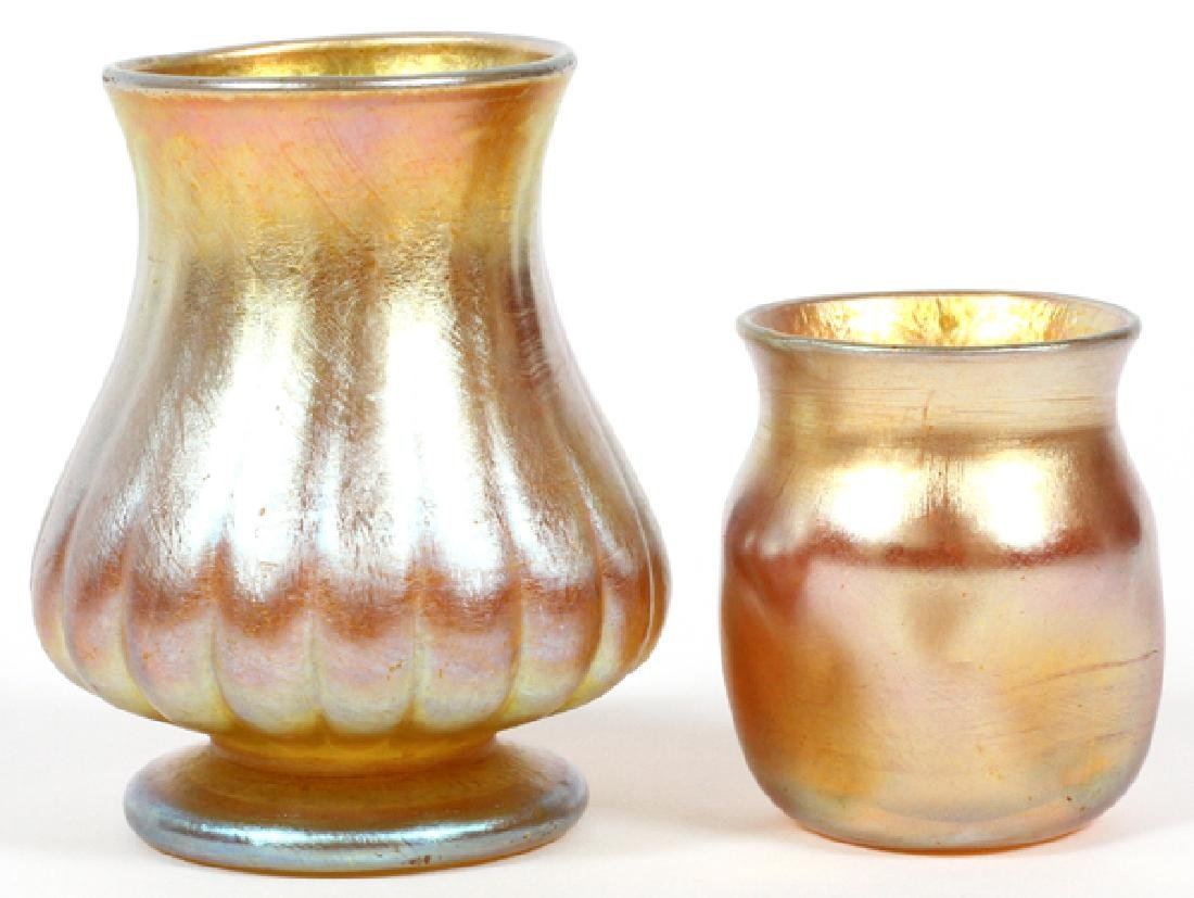 L.C. TIFFANY GOLD FAVRILE VASES C.1900 TWO