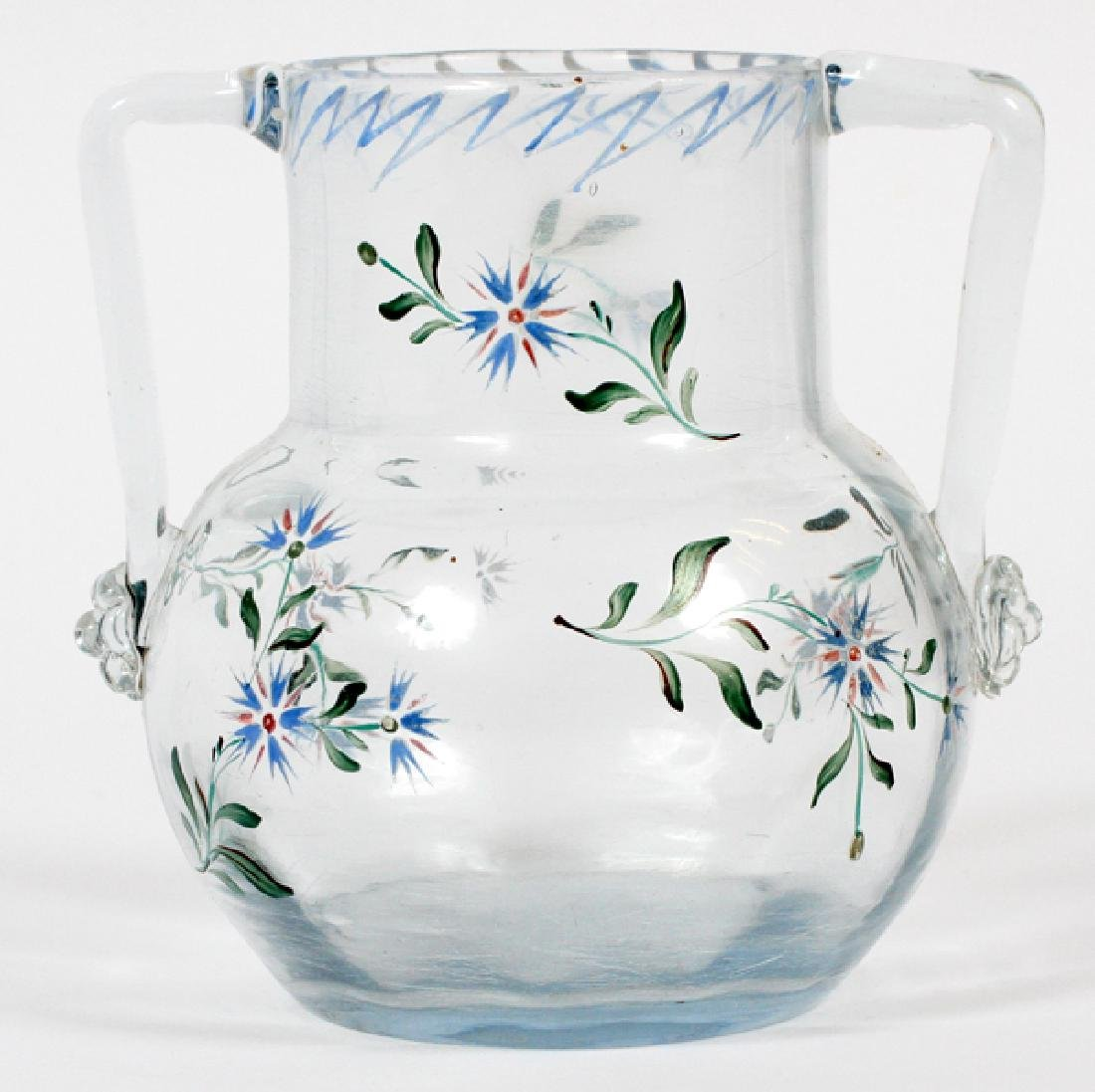 EMILE GALLE ENAMELED BLUE GLASS VASE C.1890