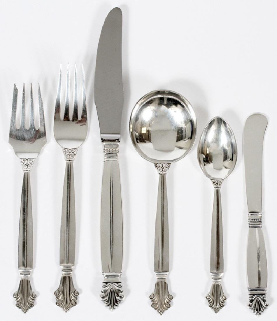 GEORG JENSEN 'ACANTHUS' STERLING FLATWARE 98 PIECES