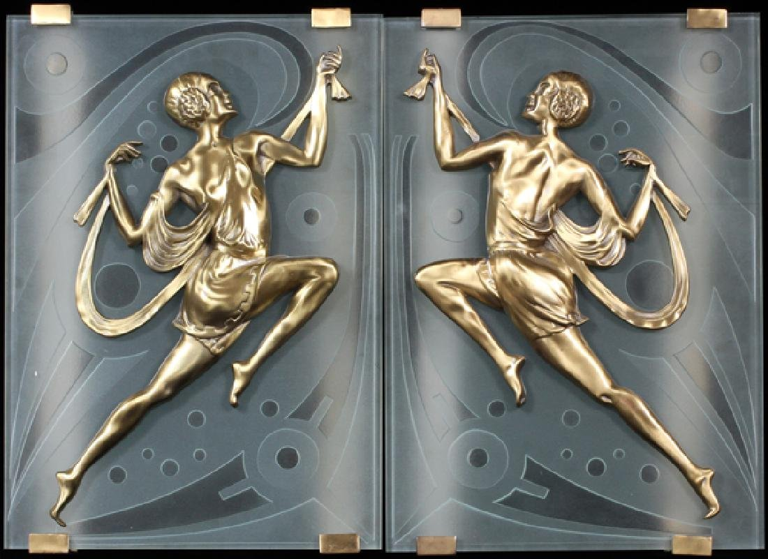 ART DECO STYLE FROSTED GLASS FIGURAL SCONCES PAIR