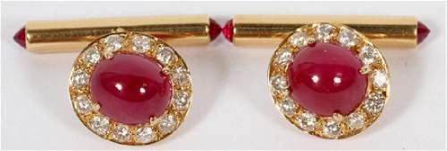 18 KT YELLOW GOLD RUBY  DIAMOND CUFFLINKS PAIR