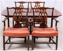 BAKER DINING TABLE & CHIPPENDALE STYLE CHAIRS