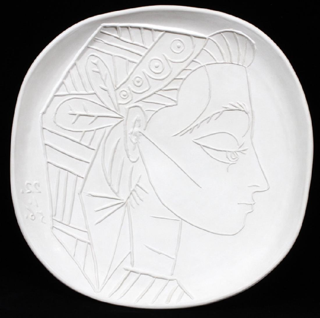 PABLO PICASSO WHITE EARTHENWARE PLAQUE