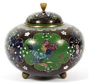 CHINESE CLOISONNE COVERED VASE 19THC