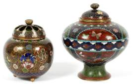 CHINESE CLOISONNE CENSER AND COVERED BOWL 19THC