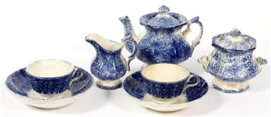 BLUE SPATTERWARE POTTERY CHILDS TEA SET