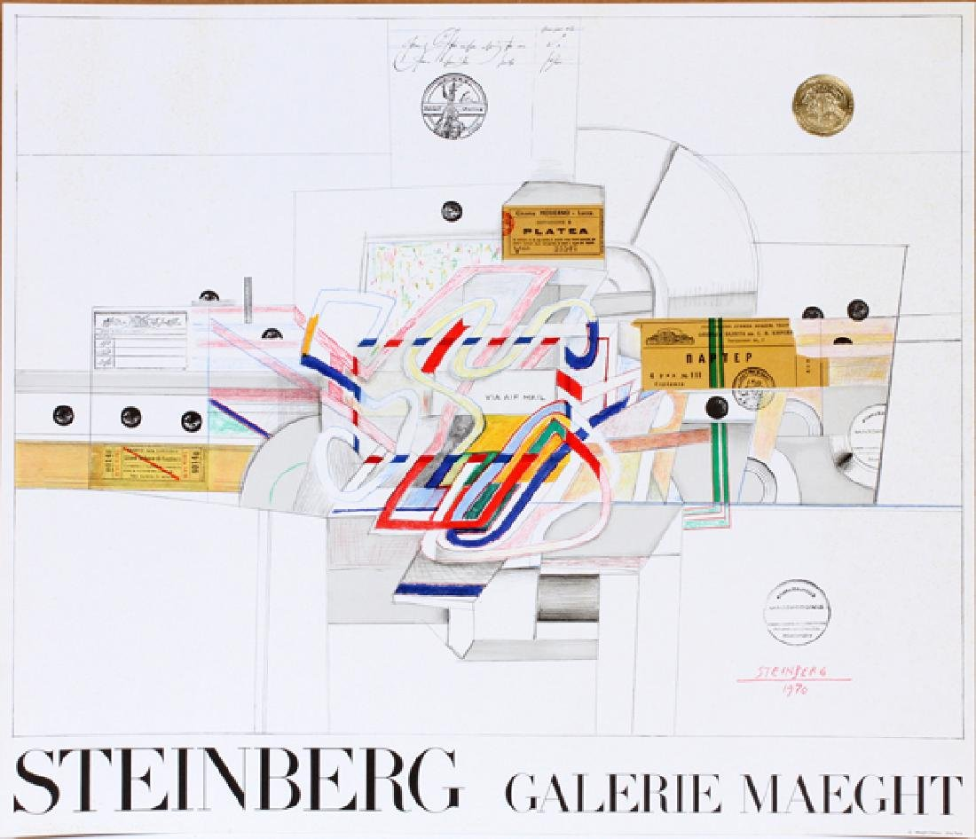 SAUL STEINBERG COLOR LITHOGRAPH POSTER 1970
