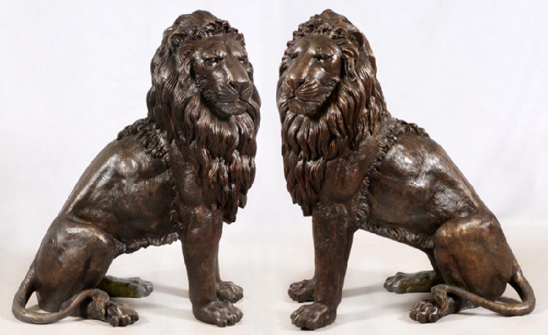 BRONZE SEATED LION SCULPTURES PAIR