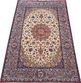 VERY FINE PERSIAN ISFAHAN SILK & WOOL SIGNED CARPET