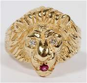 14 KT YELLOW GOLD LION RING SIZE 9.0 TW. 10.7 GR.