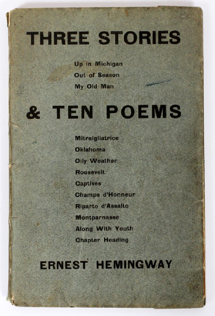 ERNEST HEMINGWAY THREE STORIES & TEN POEMS 1923