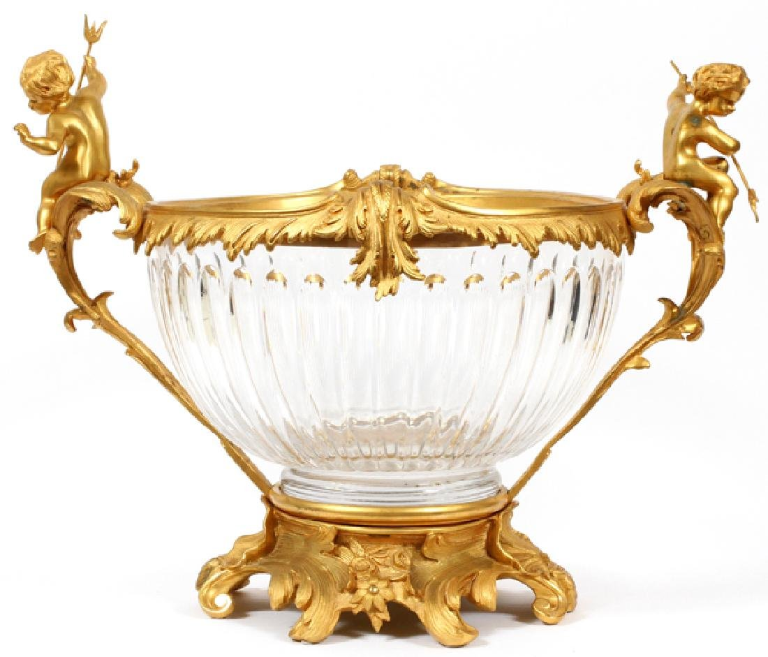 FRENCH DORE BRONZE & CRYSTAL CENTER PIECE
