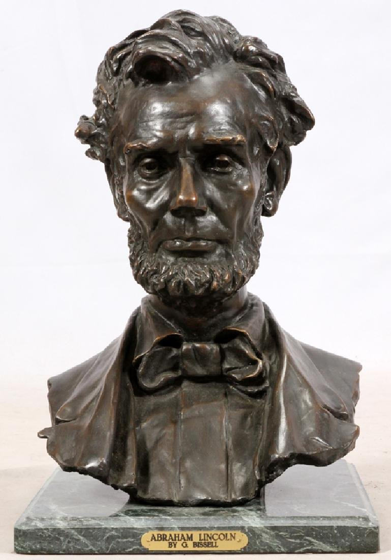 AFTER GEORGE E. BISSELL ABRAHAM LINCOLN BRONZE BUST