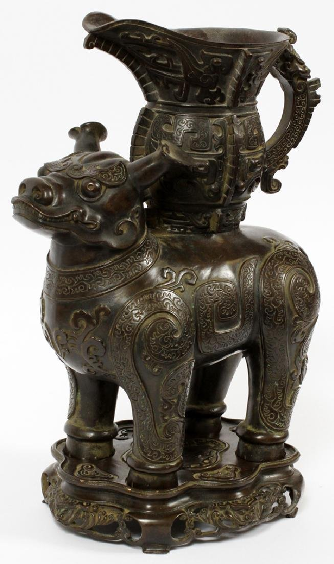 CHINESE BRONZE PITCHER BEING CARRIED BY FOO DOG5
