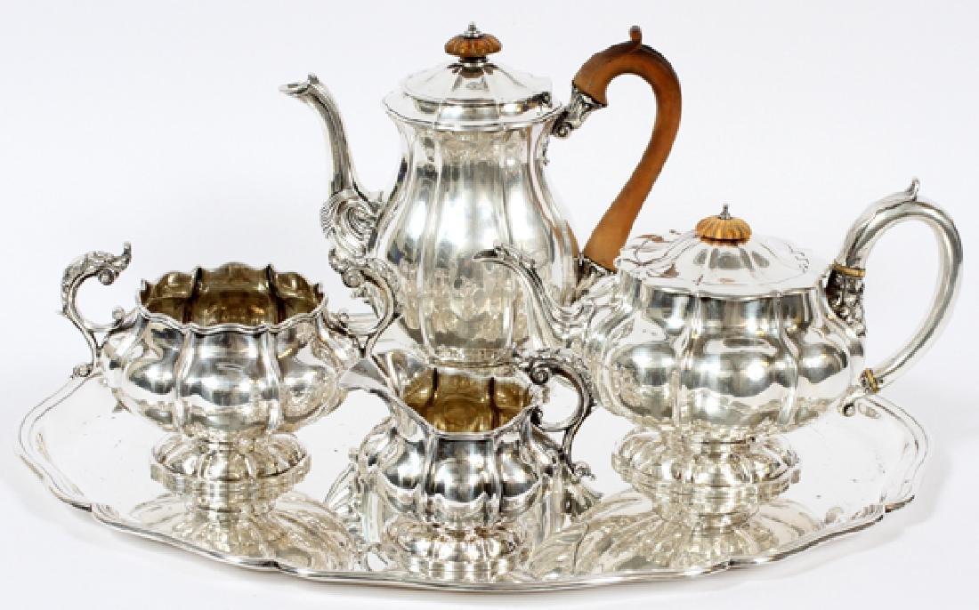 GEORGIAN STERLING SILVER ASSEMBLED TEA & COFFEE SET