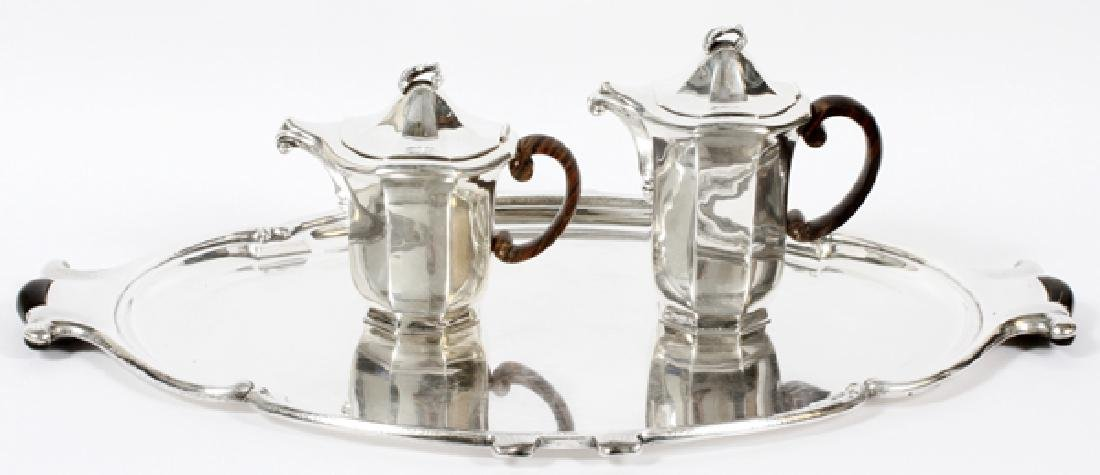ITALIAN 800 SILVER TEAPOT COFFEE POT & TRAY