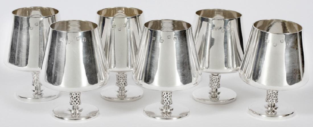 IRISH MODERN STERLING GOBLETS 1971 SET OF 6
