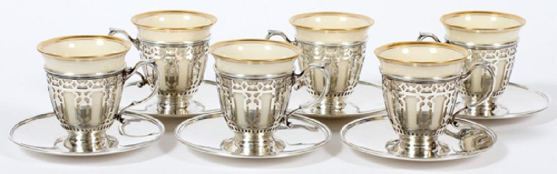 TIFFANY STERLING & LENOX PORCELAIN DEMITASSE SET